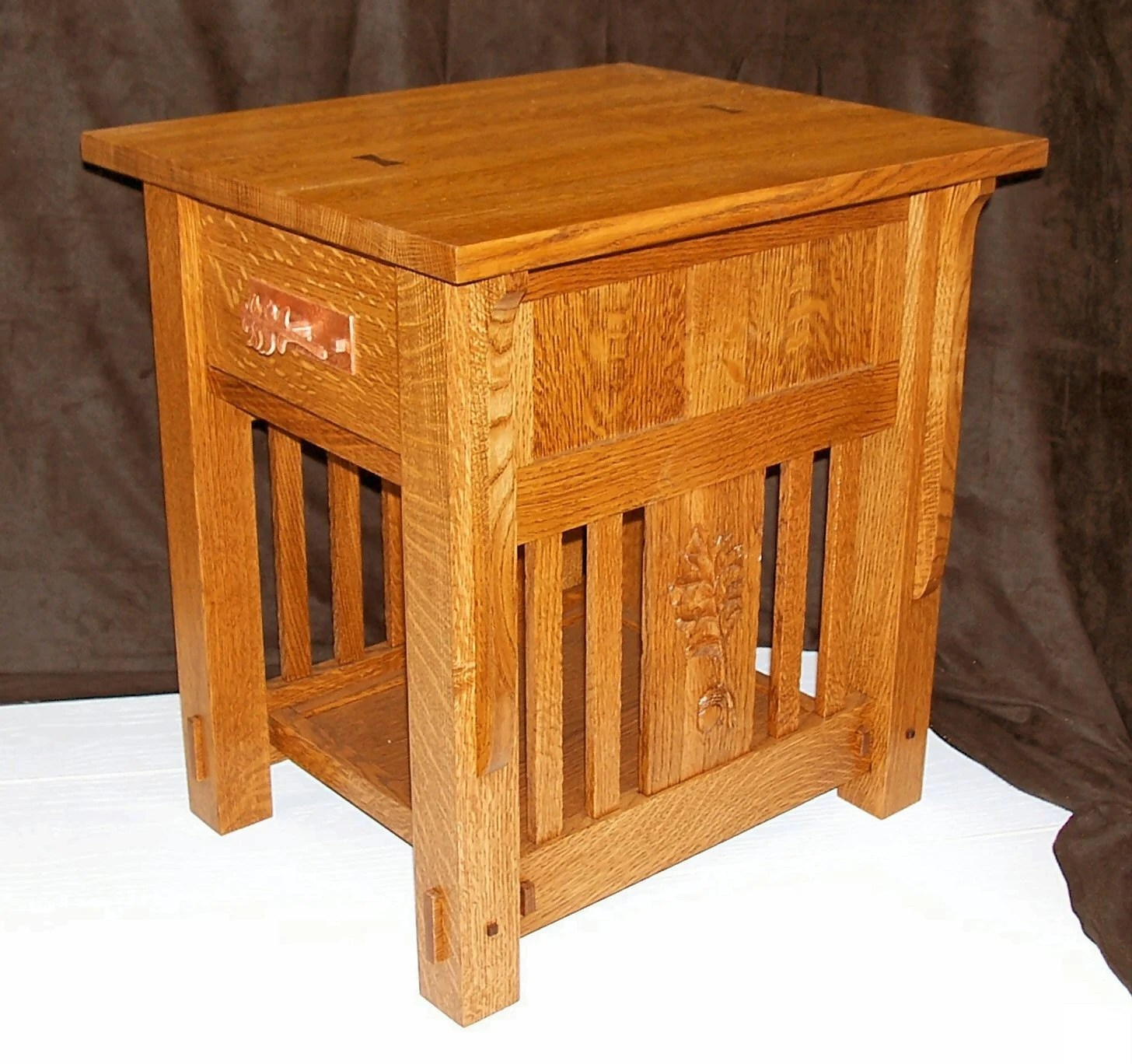 Building An End Table Built To Order Mission Style End Table Arts And Crafts Carved Oak Leaf Side Panels Walnut Dovetail