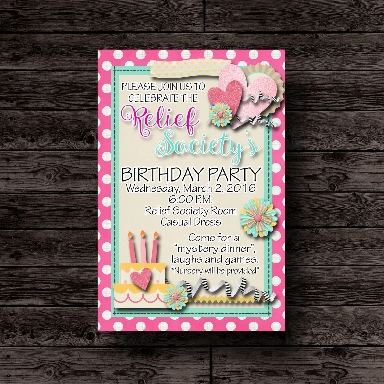 Relief Society Invitation LDS Relief Society Printable Etsy