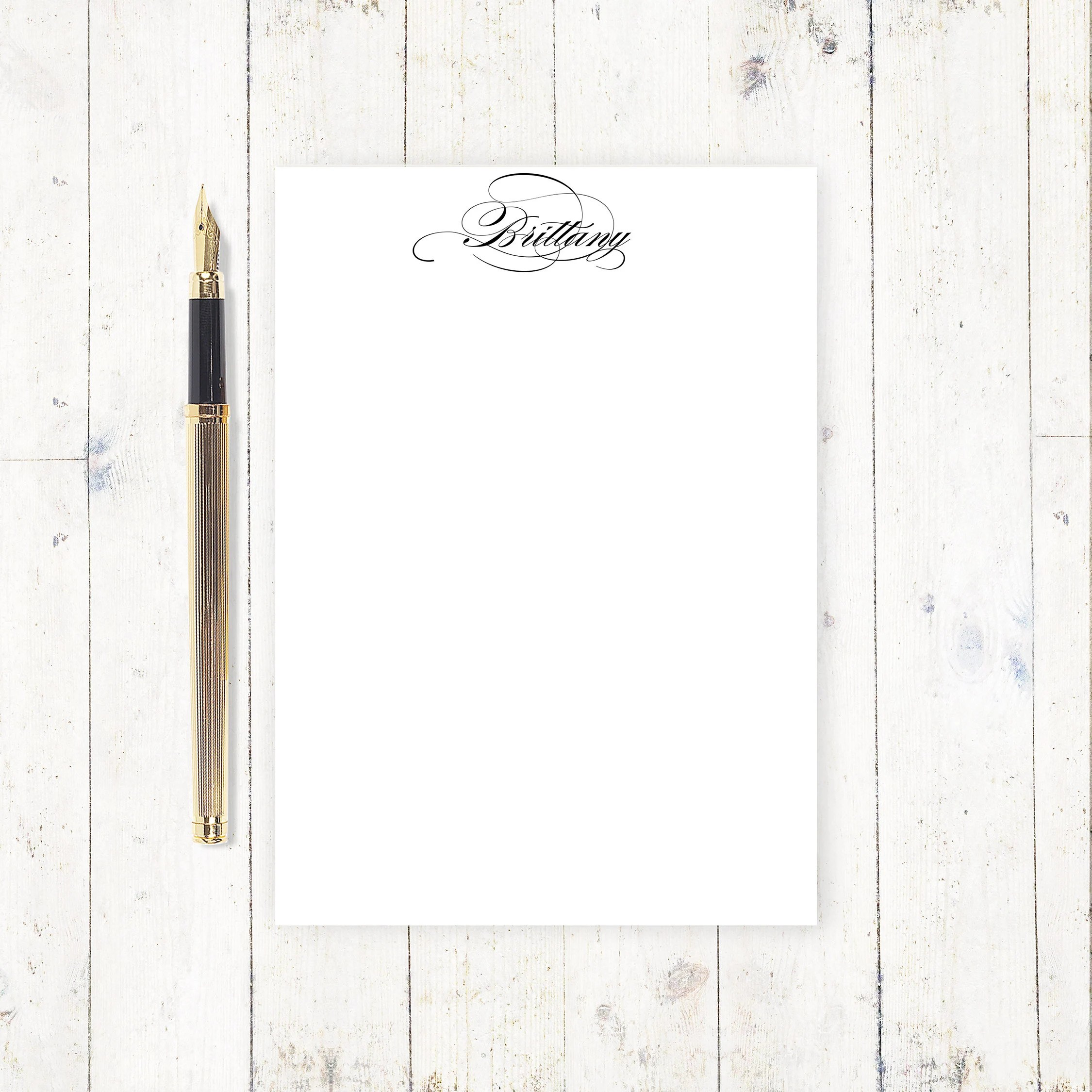 personalized notePAD FANCY CALLIGRAPHY NAME stationery Etsy