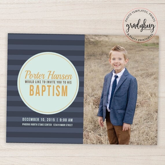 LDS Baptism Invitation Boys Baptism Announcement Blue Etsy