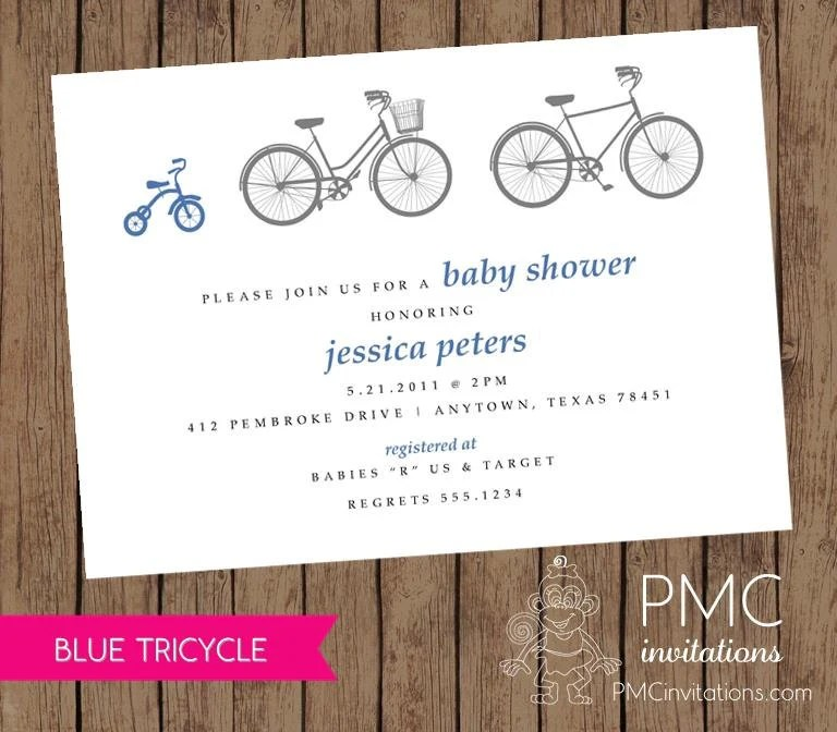 Bicycle Tricycle Boy Baby Shower Birth Announcement Invitation Blue