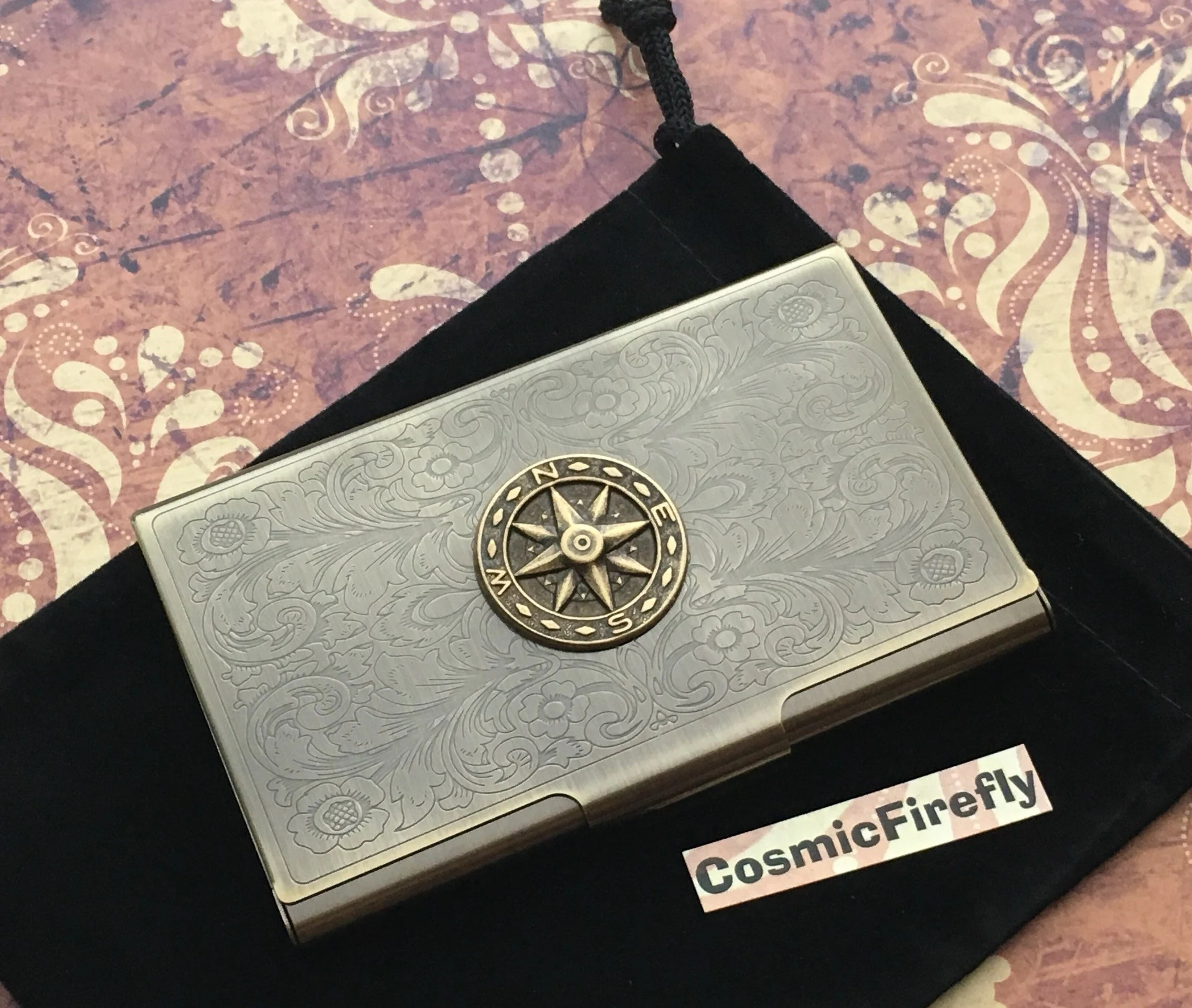 Nautical Compass Business Card Case Nautical Card Case Brass Etsy