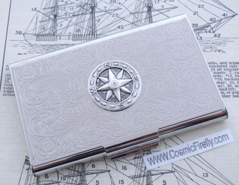 Compass Business Card Case Nautical Card Case Silver Card Case Etsy