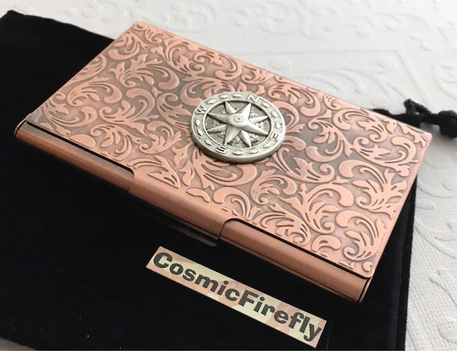 Copper Business Card Case Nautical Compass Card Case Card Holder