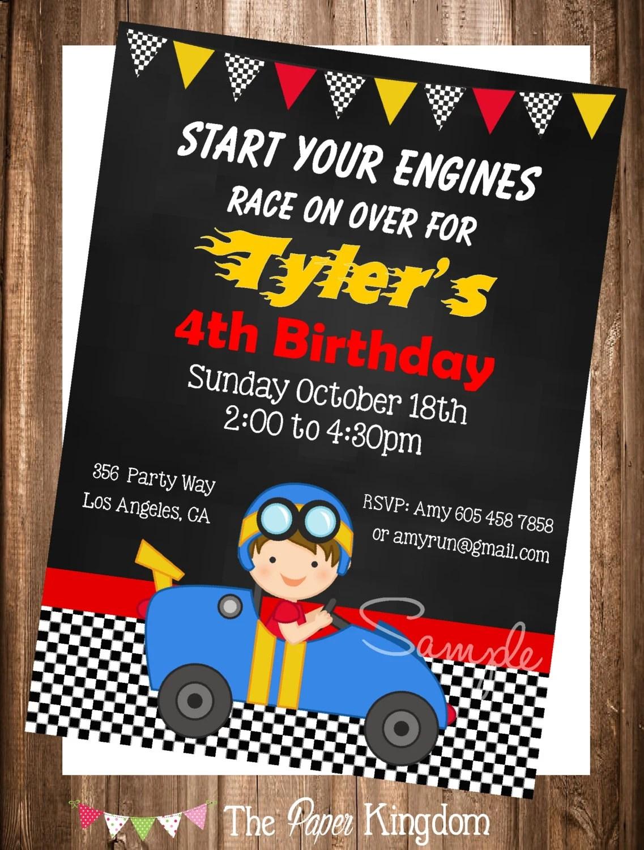 Racer Invitation, PRINTABLE Race Car Invitation, Printable Race Car