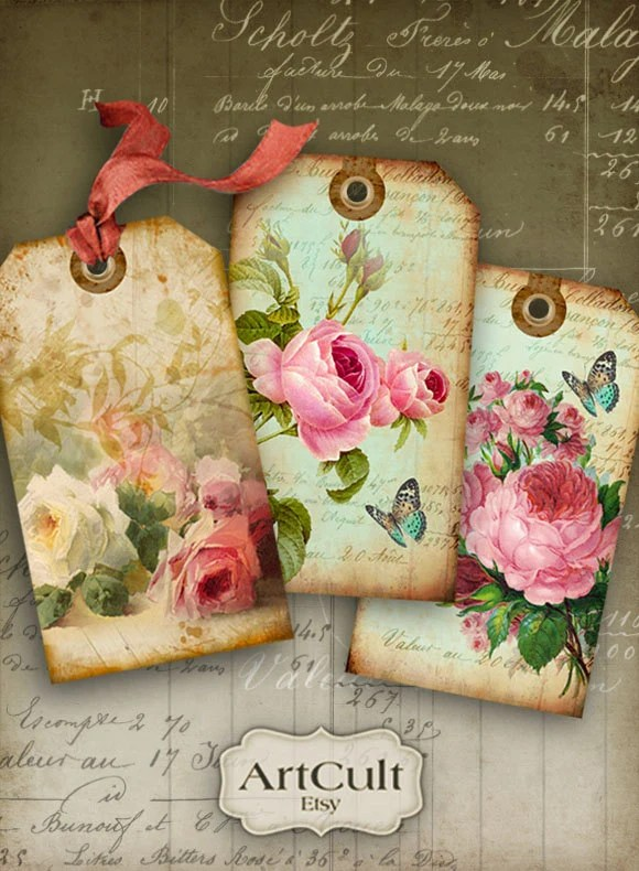 Digital Collage Sheet SHABBY CHIC GIFT Tags No1 Printable Etsy