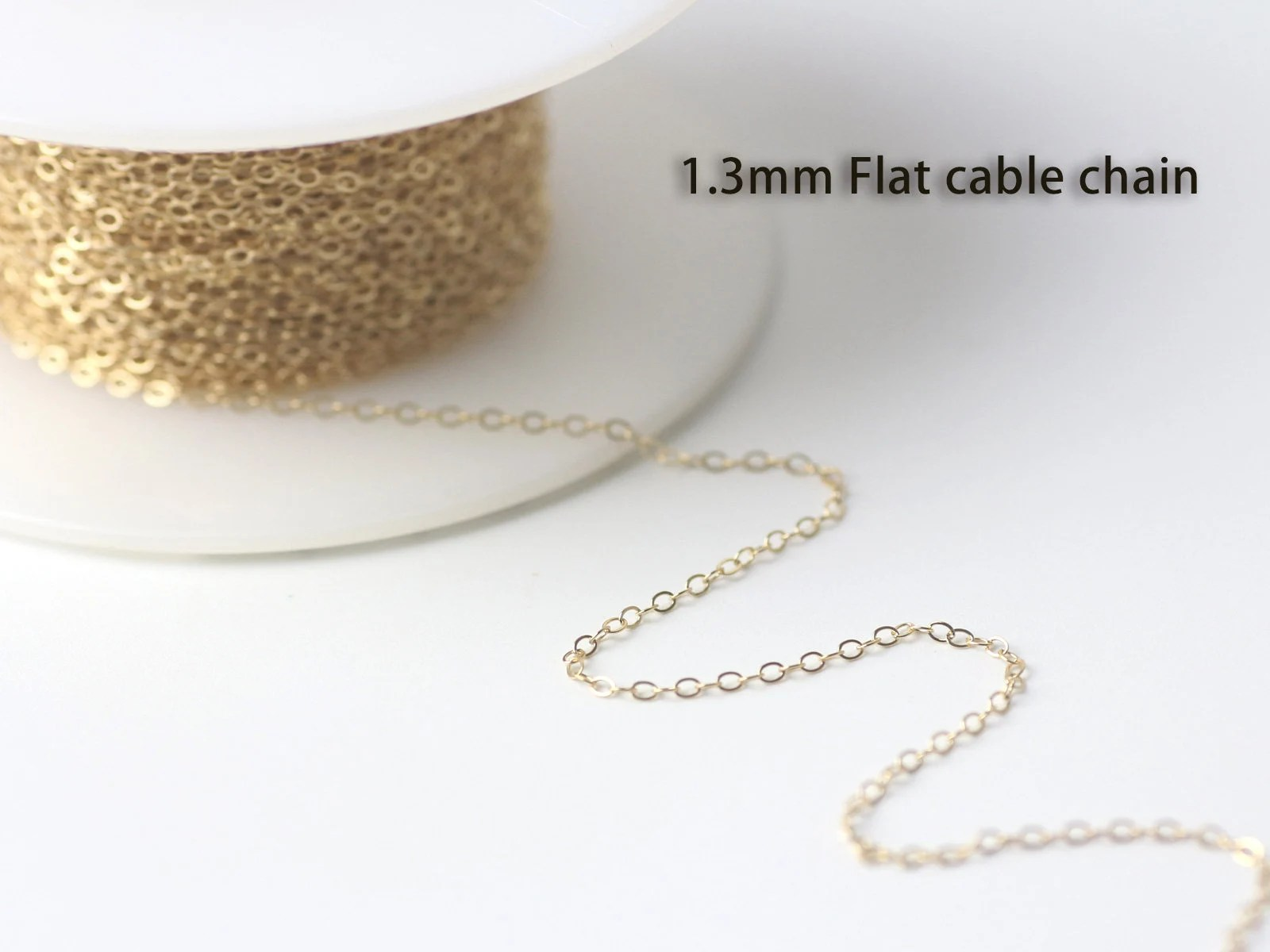 Wholesale Jewelry Gold Filled 14k Gold Filled 1 3mm Flat Cable Chain 5ft 20ft 100ft 1 3x1 8mm Chain Usa Made Wholesale Jewelry Chain Supply 1120