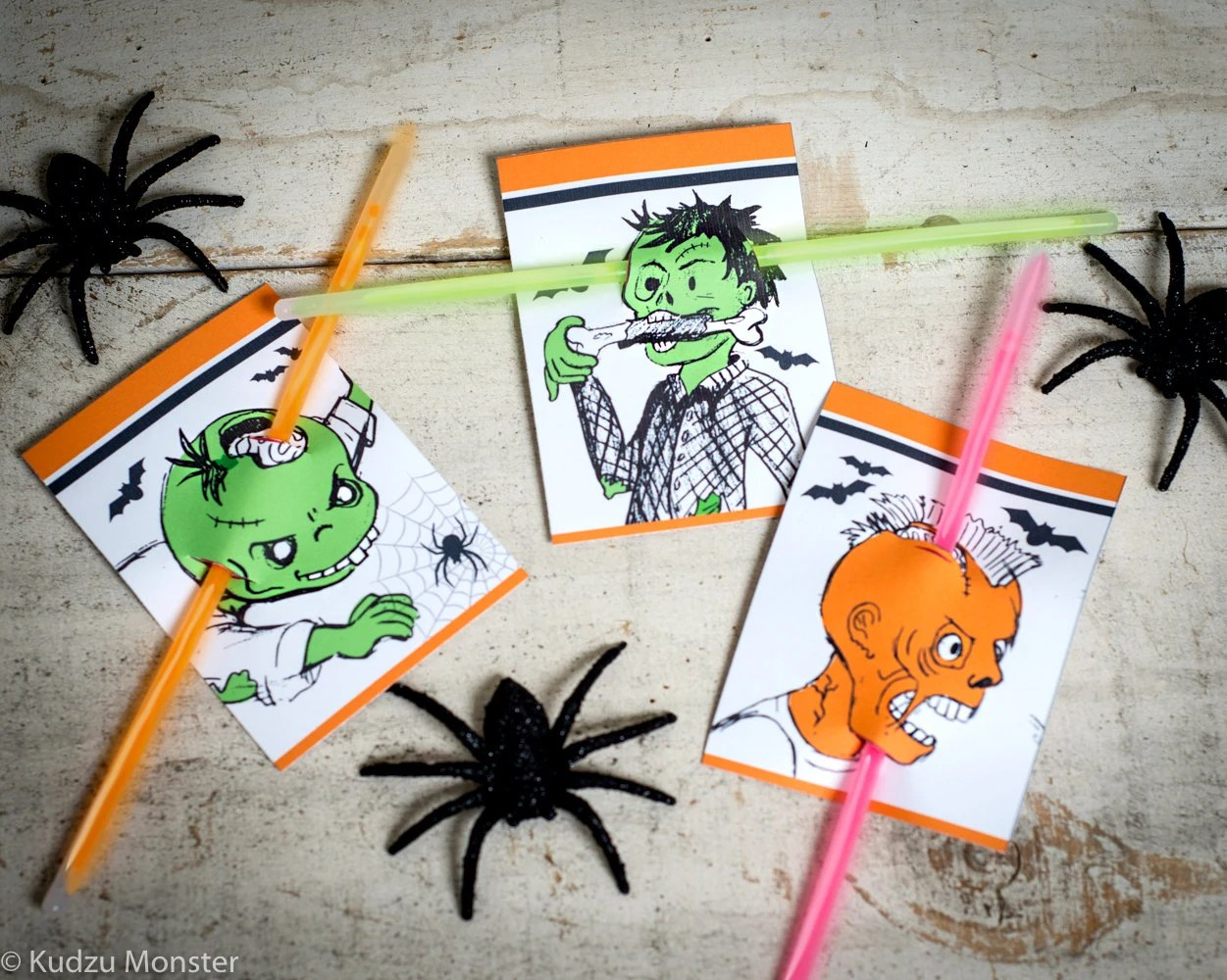 Halloween Printable non candy treats Zombie head stabbed with glow