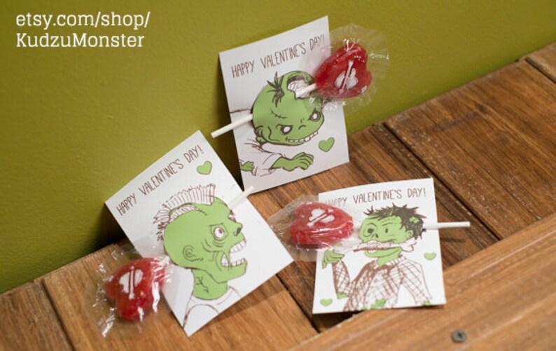 INSTANT DOWNLOAD zombie classroom sucker valentines funny shot Etsy