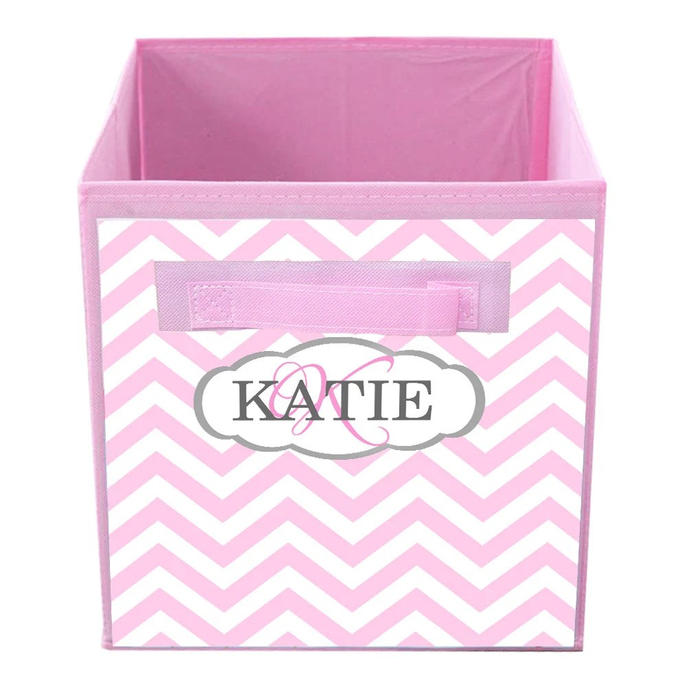 Pink Bins Pink Chevron Fabric Bin Girl S Personalized Bedroom Baby Nursery Organizer For Toys Or Clothing Fb0078