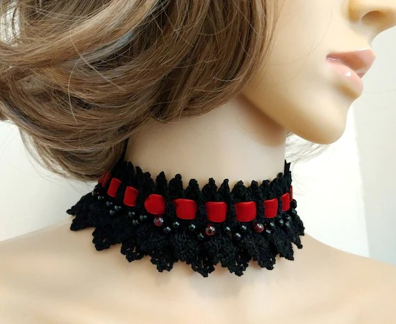 Crimson And Black Gothic Choker Crochet Lace Beaded