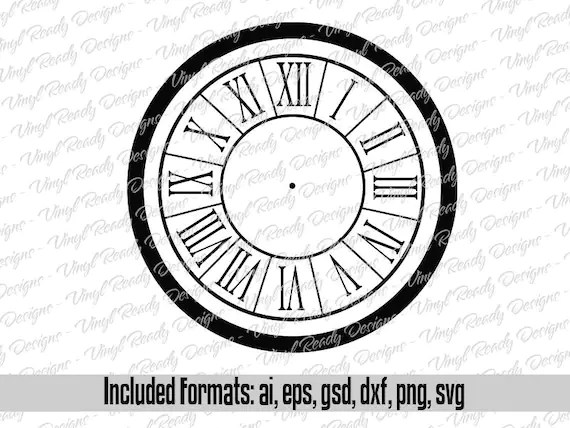 Clock Face Template Pattern Vector Art Svg Eps Ai Gsd Png Etsy