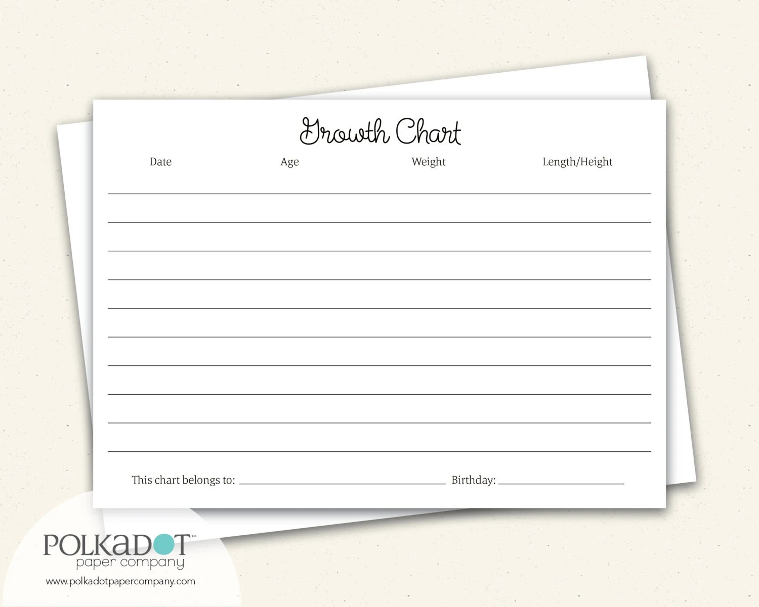Growth Chart Baby  Child Record Keepsake Card Etsy