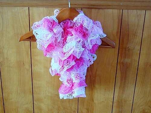 Beautiful Knitted Hot Pink Light Pink White Ruffled Scarf
