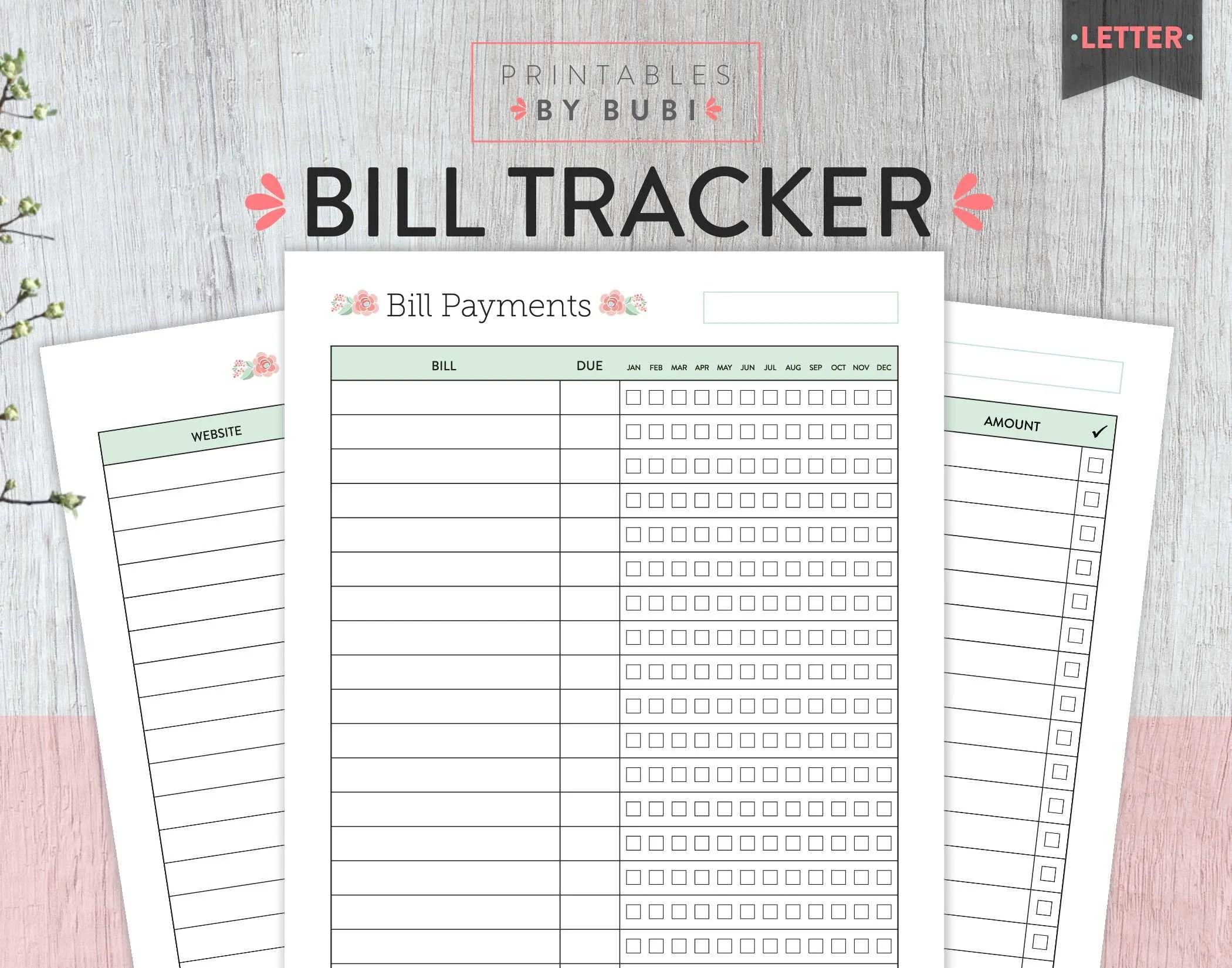 Bill Tracker Monthly Bill Tracker Bill Planner Bill Etsy