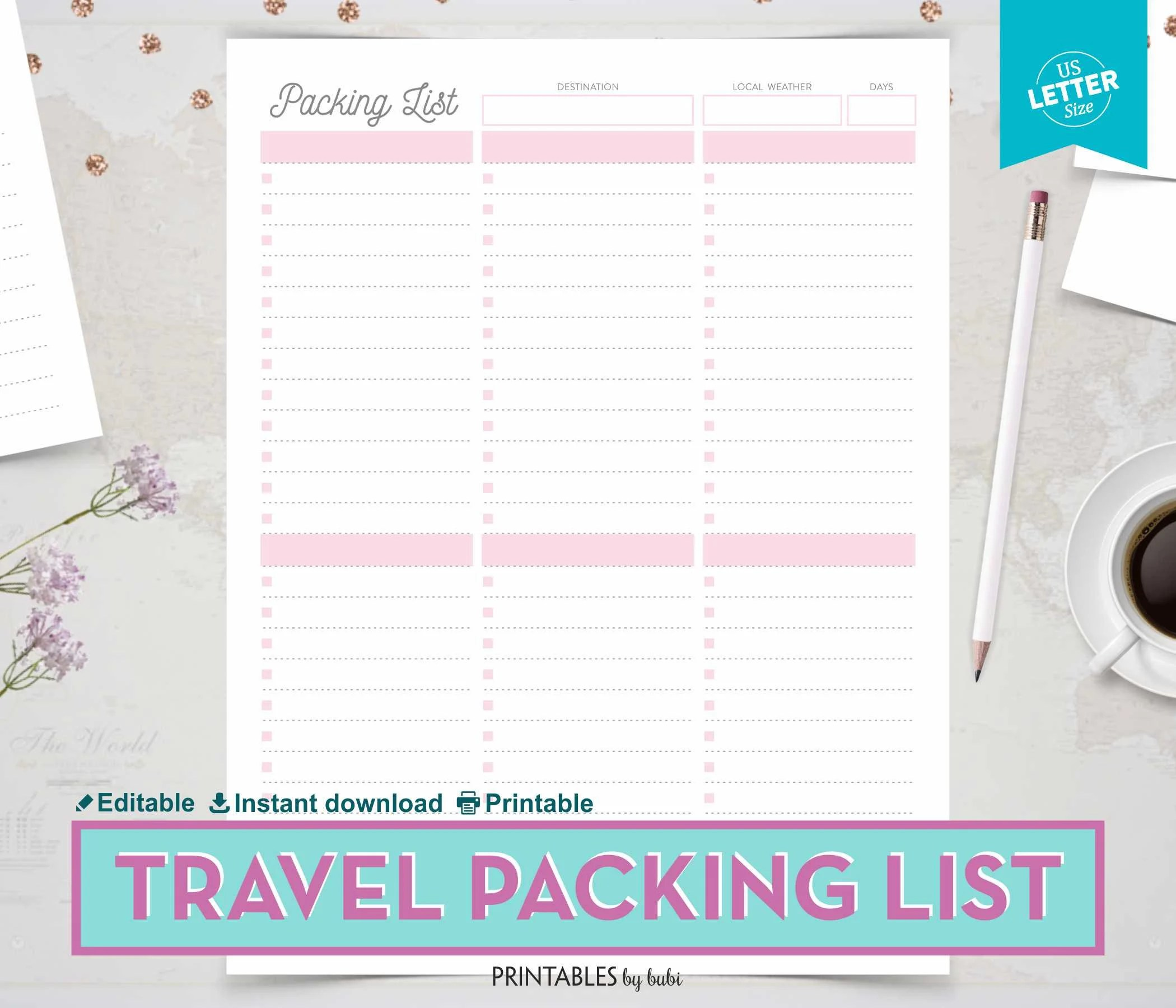 Printable Travel Packing List Vacation Packing Checklist Etsy