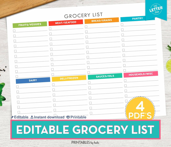 Grocery List Editable Shopping List Printable Grocery List Etsy
