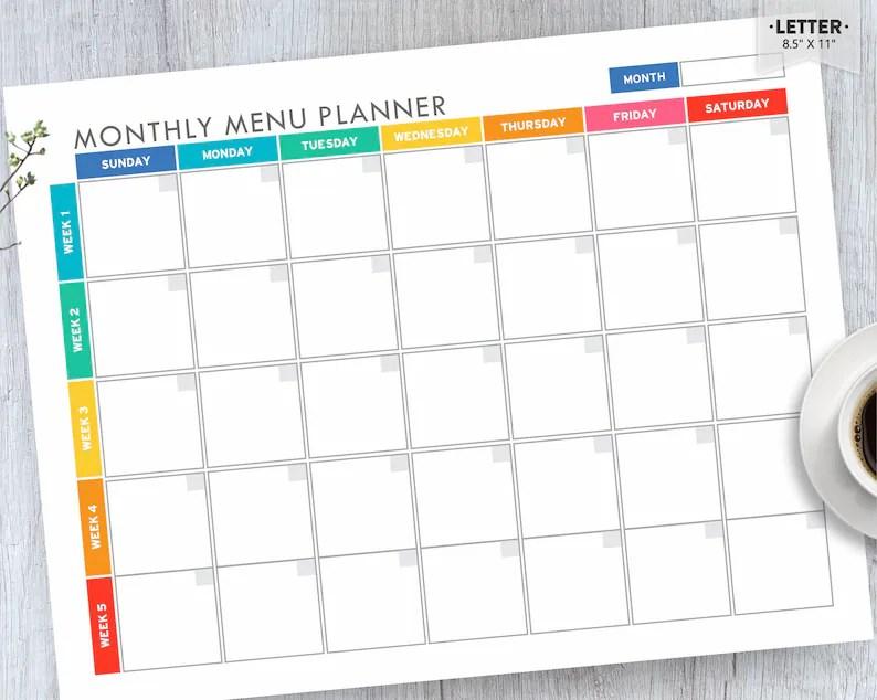 Meal Planner Printable Menu Planner EDITABLE Monthly Meal Etsy