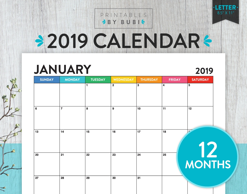 Printable Monthly Calendar 2019 Calendar Printable 2019 Wall Etsy