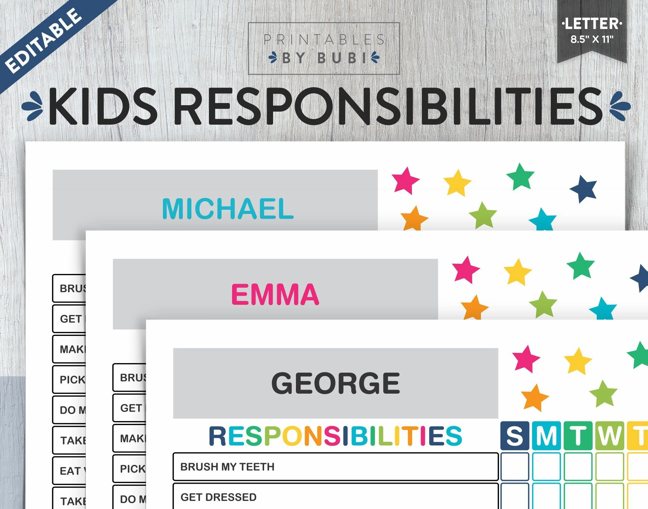 Daily Responsibilities Chart for Kids Kids Chore Chart Etsy - kids chart