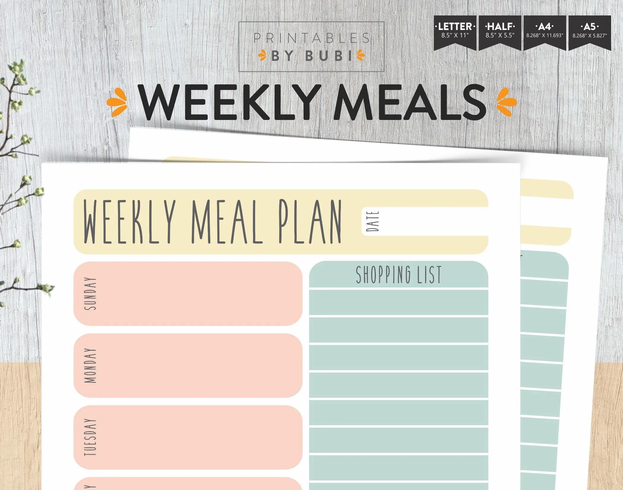 Weekly Menu Planner and Grocery List Meal Planner Printable Etsy