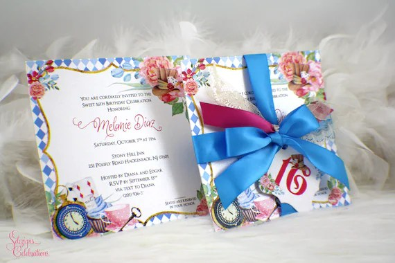 Alice In Wonderland Invitation Sweet 16 Invitation Etsy