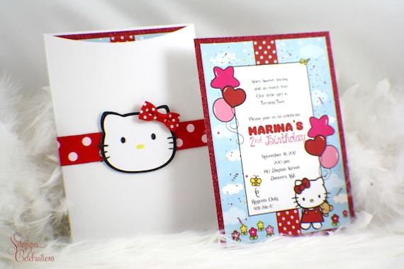Hello Kitty Invitation, Hello Kitty birthday invitation, Hello Kitty