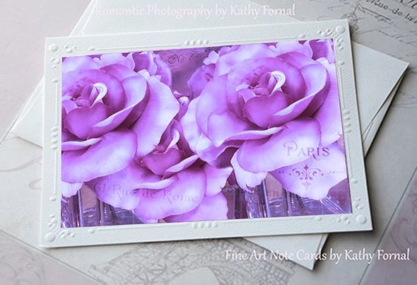 Lavender Roses Note Card, Dreamy Lavender Purple Roses Floral Note