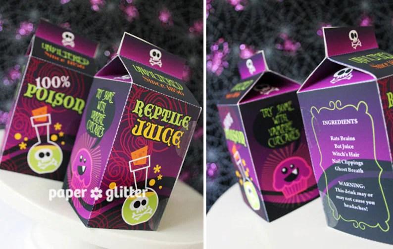 Halloween Milk Carton Favor Box Kawaii Style Editable Text Etsy