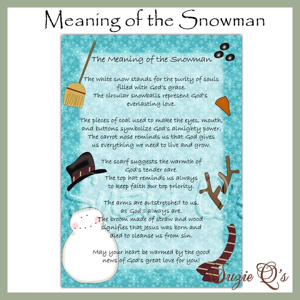 Meaning of the Snowman 5x7 Card Front Digital Printable Etsy