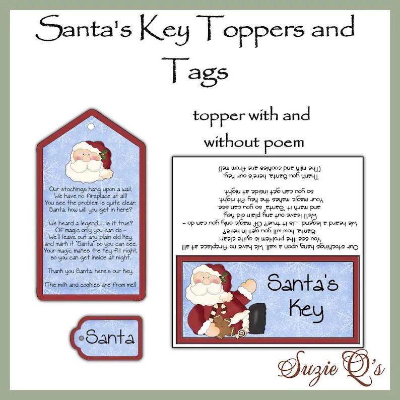 Santa\u0027s Key toppers and tags set Digital Printable Etsy