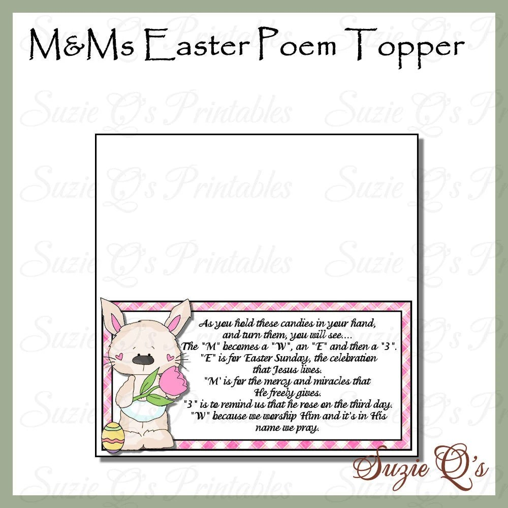 MMs Easter Poem Topper Digital Printable Immediate Etsy