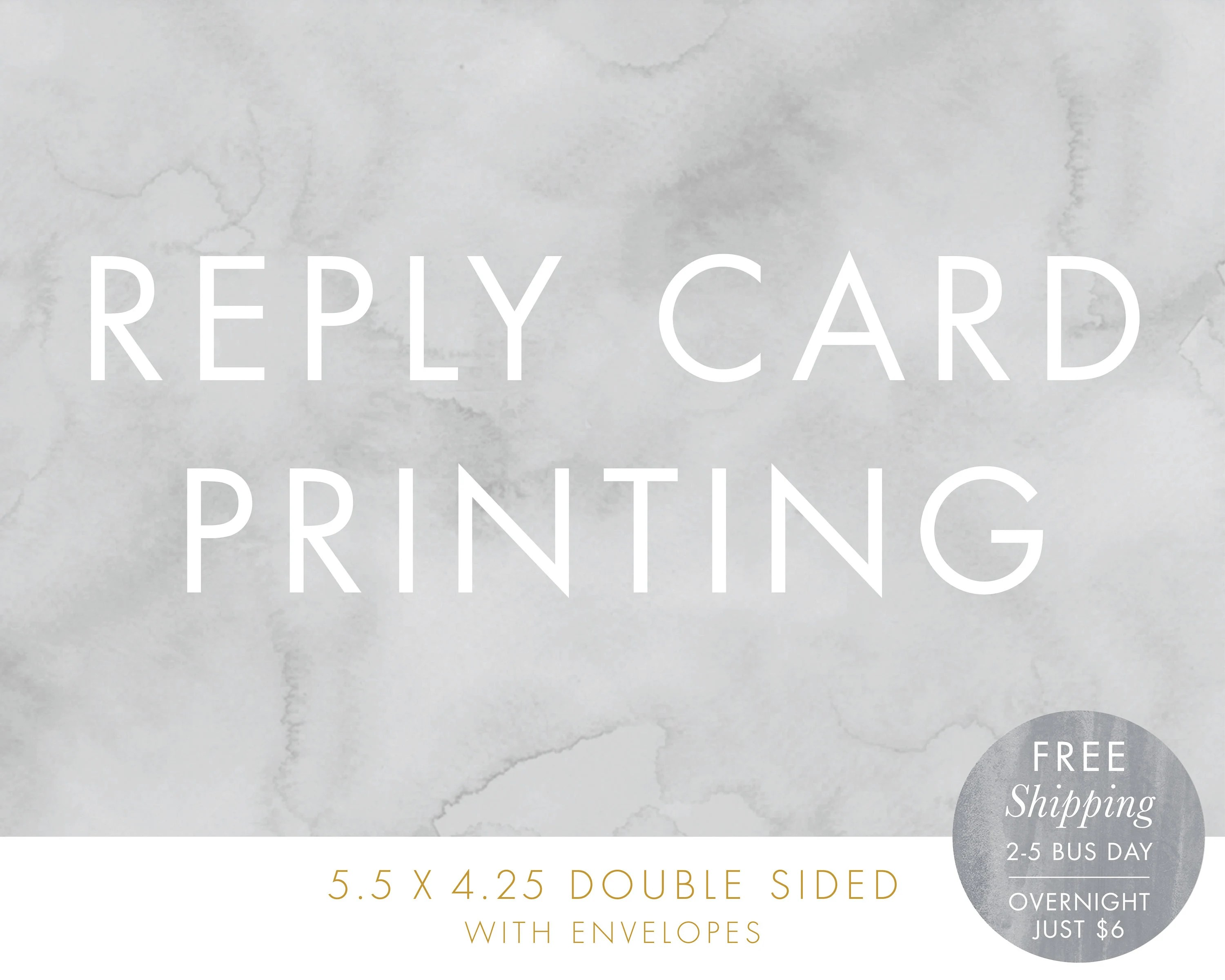 Reply Card Printing Free Shipping 55x425 Double Sided RSVP Etsy