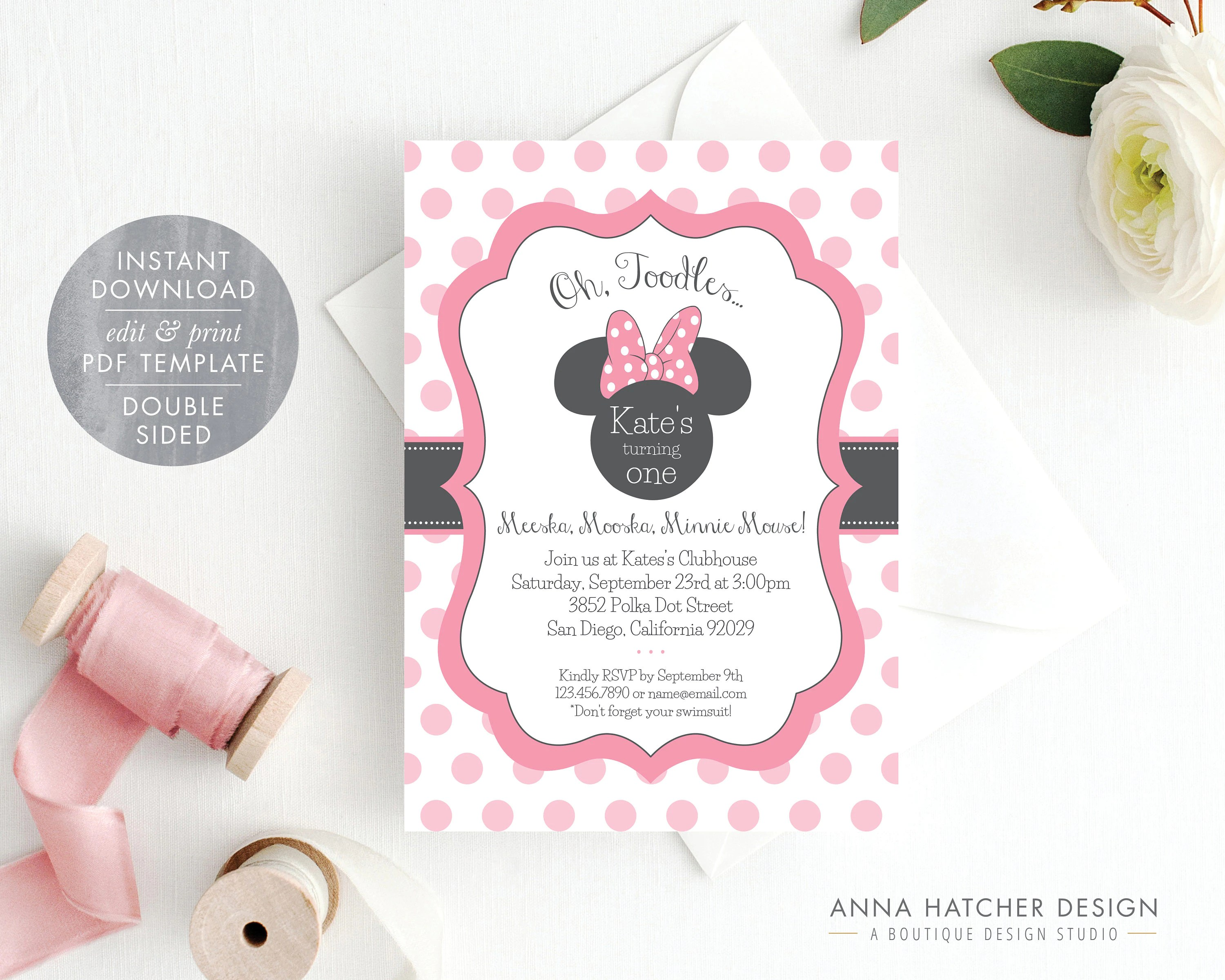 Mickey Mouse Bettwäsche Minnie Mouse Invitation Editable Birthday Invitation Template Pink Minnie Mouse Birthday Party Diy Printable Pdf Instant Download Bday1