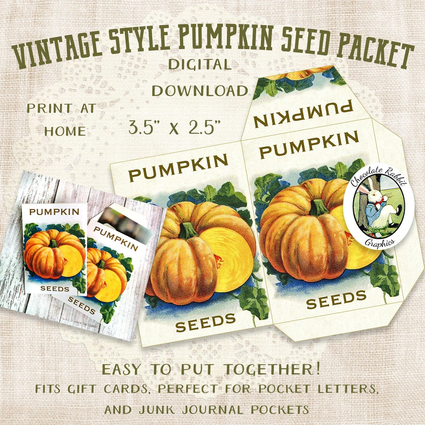 Vintage Pumpkin Seed Packet Digital Download Printable Etsy