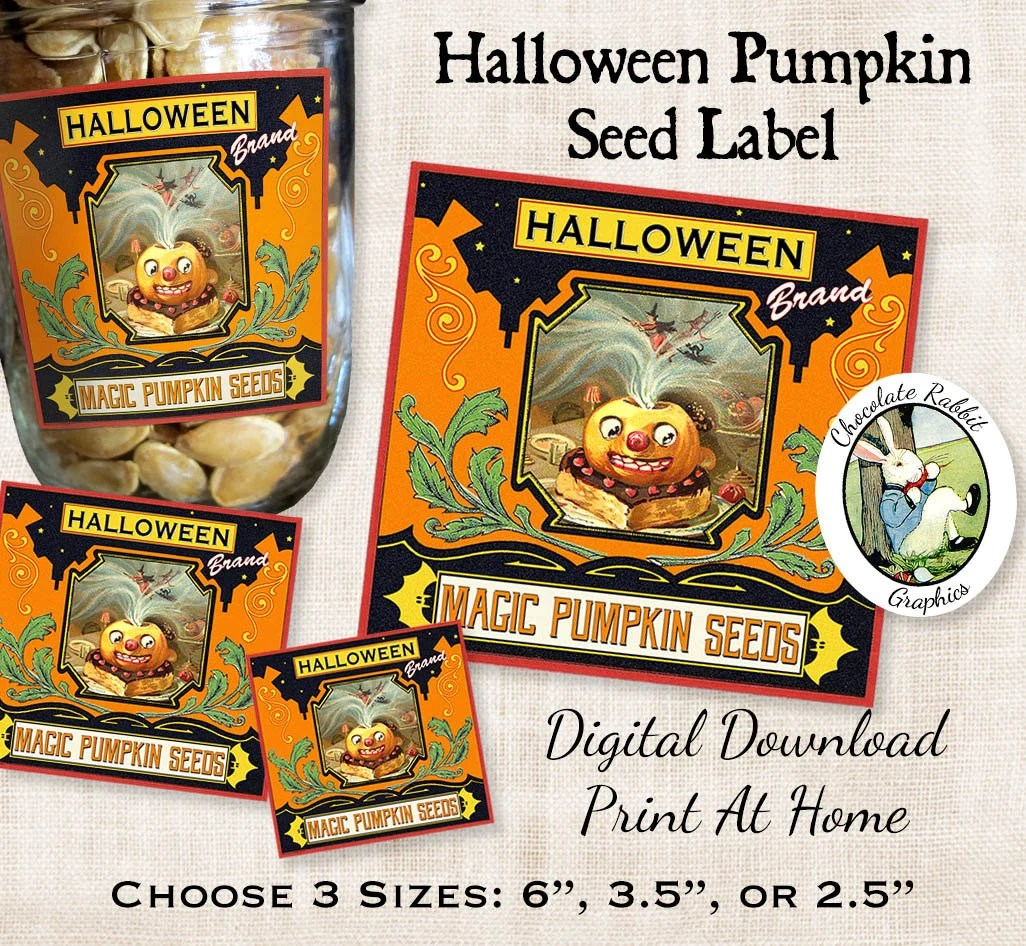 Halloween Magic Pumpkin Seed Labels Vintage Style Digital Etsy