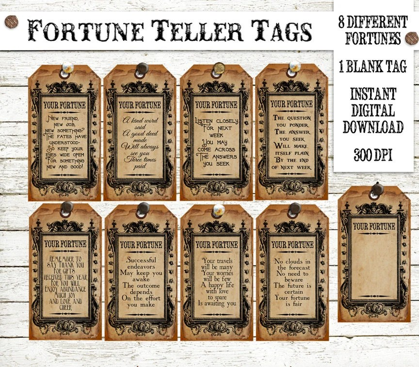 Halloween Witch Fortune Teller Tag Instant Digital Download Etsy