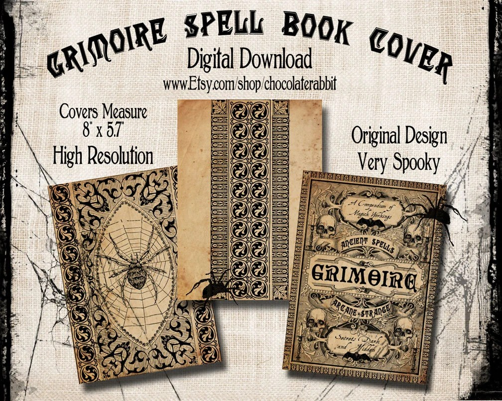 Spell Book Cover Halloween Witch Digital Download Printable Etsy