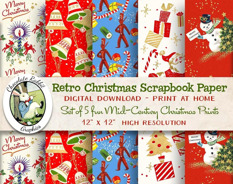 Retro Christmas Paper Digital Christmas Scrapbook Paper Etsy