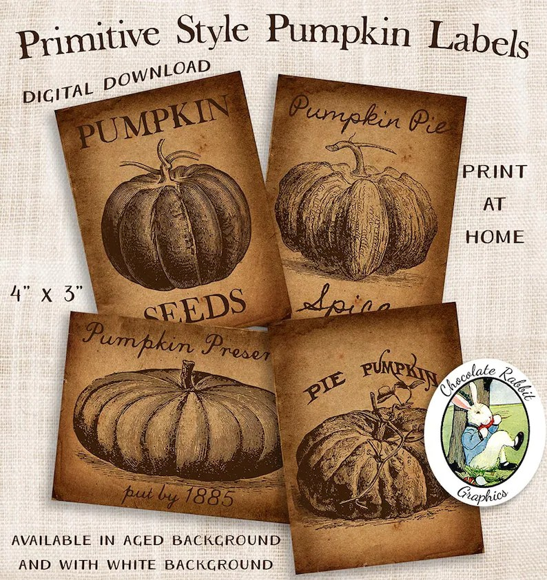 Vintage Style Pumpkin Labels Primitive Labels Country Etsy