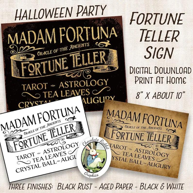 Halloween Fortune Teller Sign Digital Download Printable Etsy