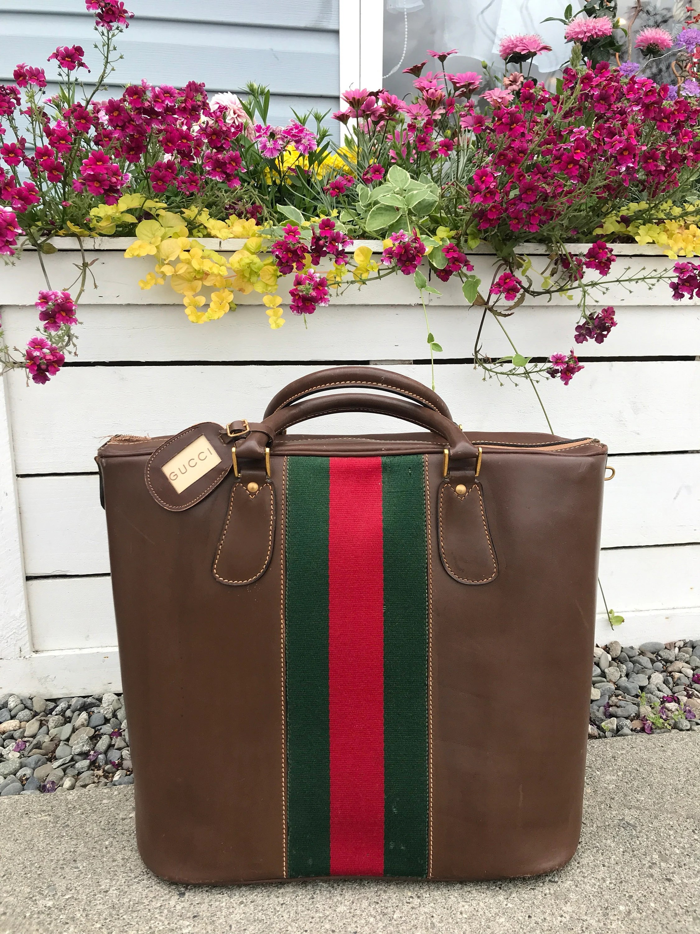 Etsy Vintage Gucci Vintage Gucci Champagne Wine Bag Luggage Gg Leather Bag