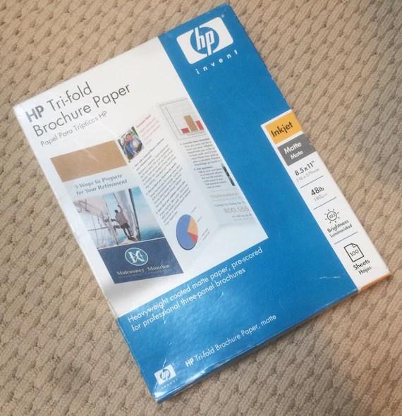 Hewlett Packard Tri Fold Brochure Matte Paper 8 1/2 x 11 Etsy