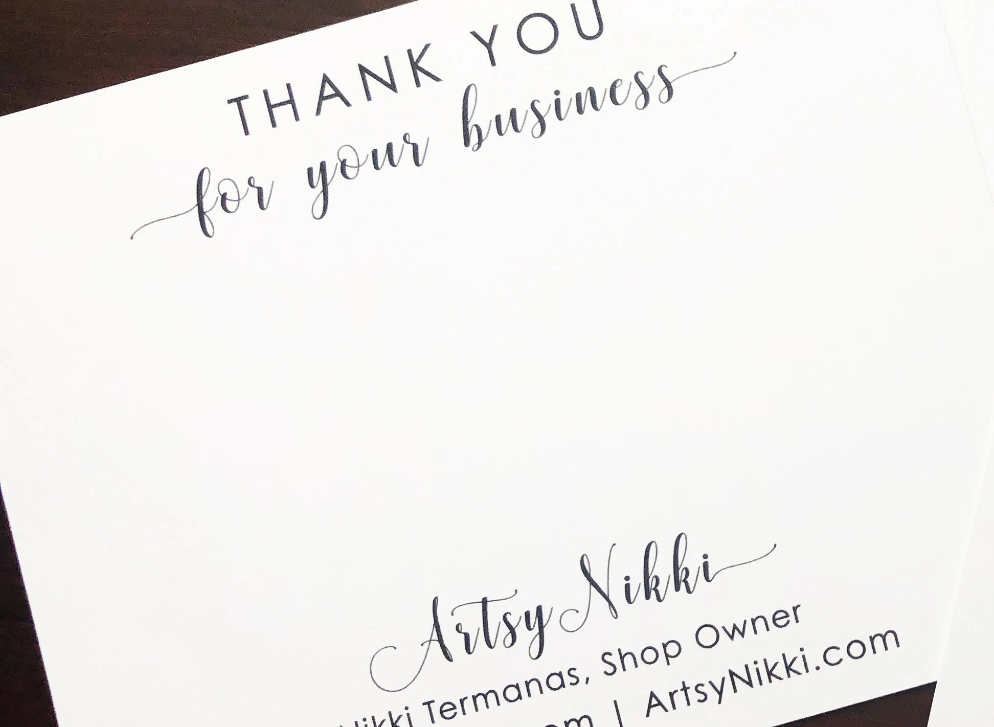 Personalized Business Thank you Note Cards Flat Note Cards Etsy