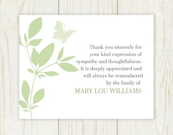 Butterfly Funeral Thank You Card Digital file sympathy Etsy