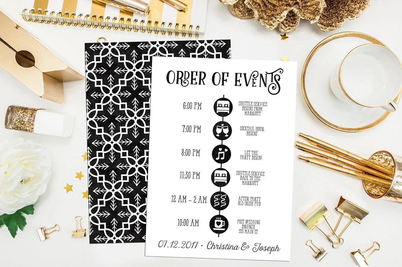 Wedding Timeline Printable Custom Wedding Schedule of Events Etsy