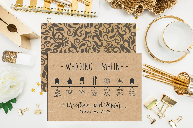 Kraft Wedding Timeline Custom Wedding Schedule of Events Red Etsy
