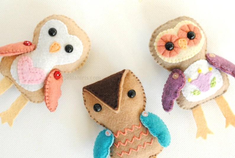 Stuffed Owl Felt Ornament Pattern Printable PDF Etsy