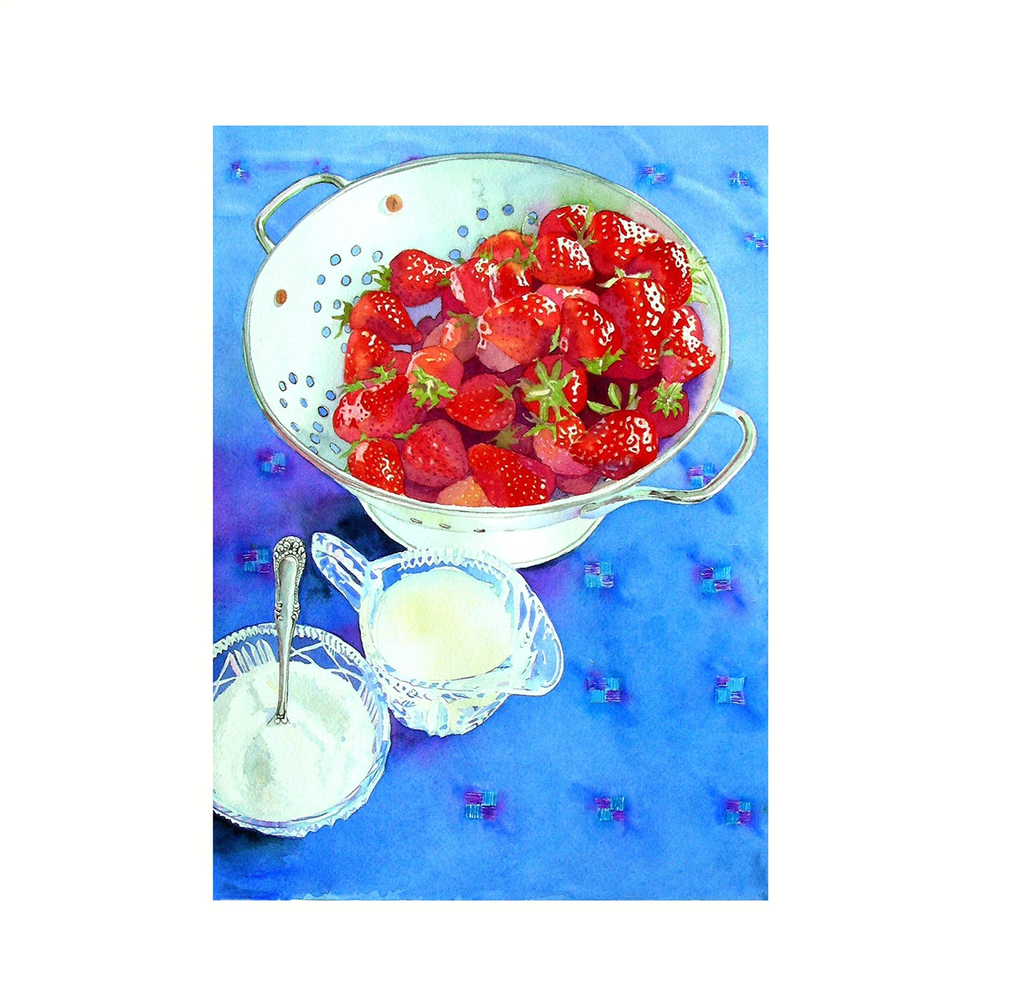 Wall Decor For My Kitchen Strawberry Art Prints Kitchen Art For Fun Red White Blue Fruit Still Life Watercolor Free Shipping