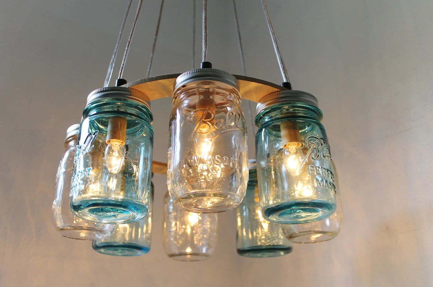 Lighting Fixtures Mason Jar Chandelier Beach House Mason Jar Lighting Fixture Blue And Clear Jars Hanging Pendant Light Bootsngus Lighting Bulbs Included